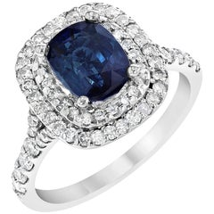 2.66 Carat Sapphire Diamond Double Halo Engagement White Gold Ring