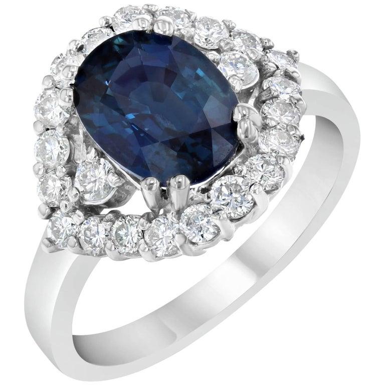 3.40 Carat Sapphire Diamond White Gold Cocktail Ring