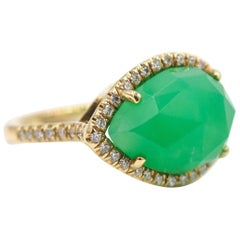 Yellow Gold Chrysoprase and Diamond Ring
