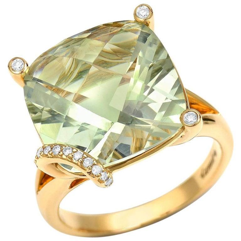 8.96 Carat Green Amethyst Diamond Gold Ring For Sale