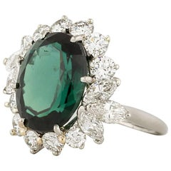 Platinum Green Tourmaline Diamond Ring