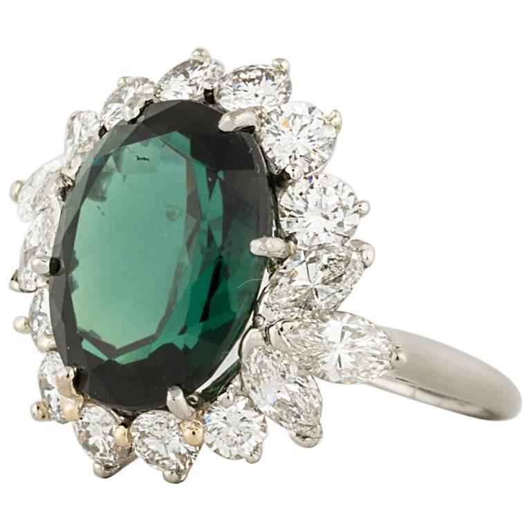 Platinum Green Tourmaline Diamond Ring