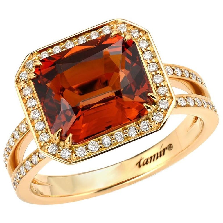 Tamir 5.07 Carat Mandarin Garnet Diamond Gold Ring 1