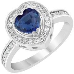 1.49 Carat Blue Sapphire Diamond Ring