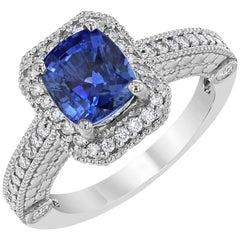 3.18 Carat Blue Sapphire Diamond Ring