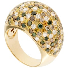 Jona Multicolor Diamond 18 Karat Yellow Gold Dome Ring