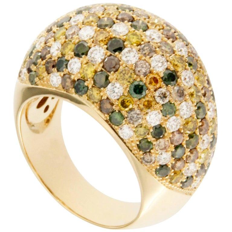 Jona Diamond Pavé Yellow Gold Dome Ring