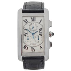Cartier White Gold Tank Americaine Quartz Wristwatch Ref W2603356, 2000s