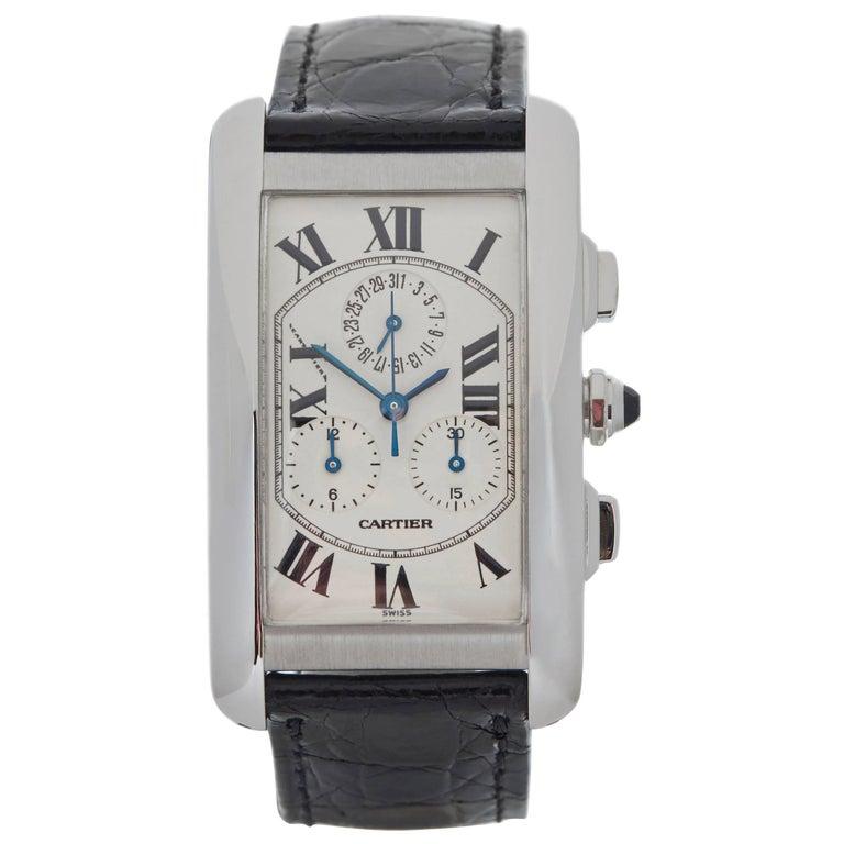Cartier White Gold Tank Americaine Quartz Wristwatch Ref W2603356, 2000s