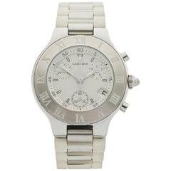 Cartier Stainless Steel Must De Cartier Chronoscaph Quartz Wristwatch Ref 2424