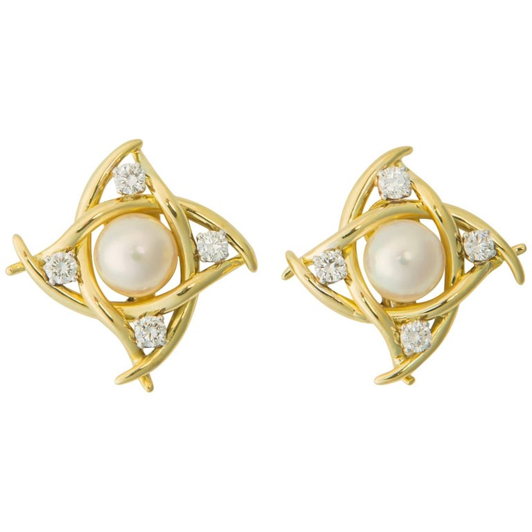 Tiffany & Co. Pearl and Diamond Earrings For Sale