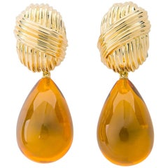 Elegant Tiffany & Co. Gold and Amber Earrings