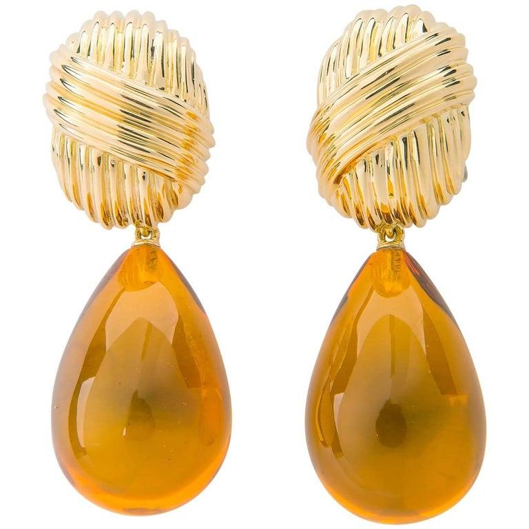 Elegant Tiffany & Co. Gold and Amber Earrings
