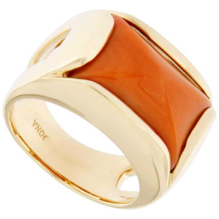 Jona Coral 18 Karat Yellow Gold Band Ring For Sale