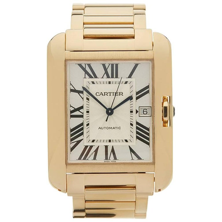 Cartier Yellow Gold Tank Anglaise Automatic Wristwatch Ref W5310018, 2010s