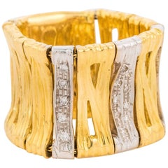 Roberto Coin 18 Karat Gold and Diamond Flex Ring