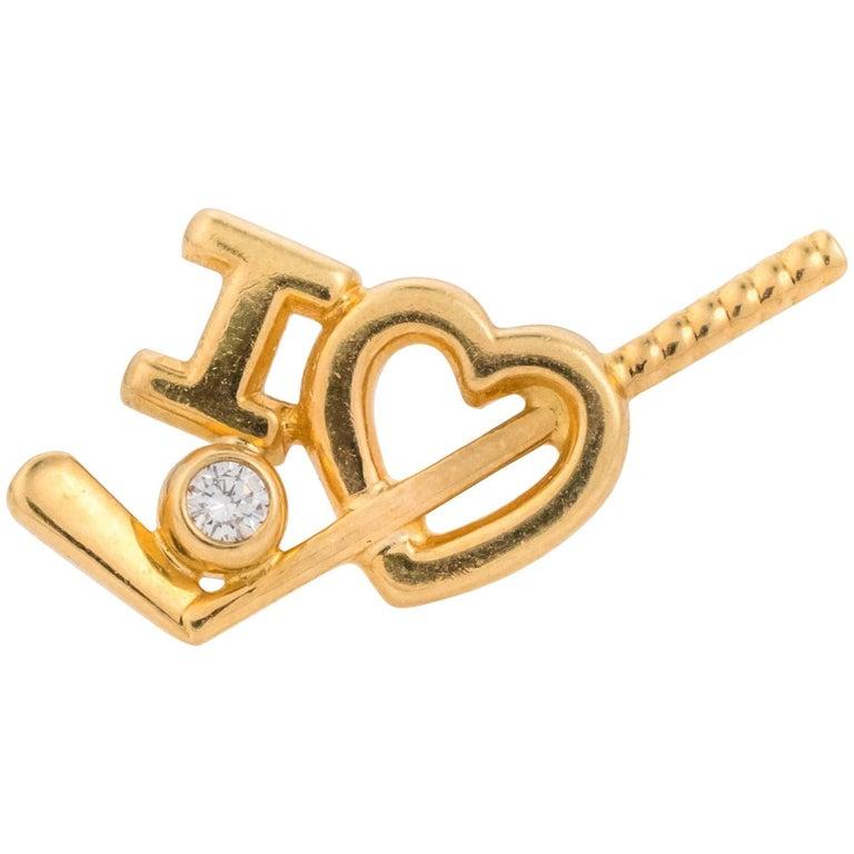 Tiffany & Co  18K Gold and Diamond I Love Golf Lapel Pin
