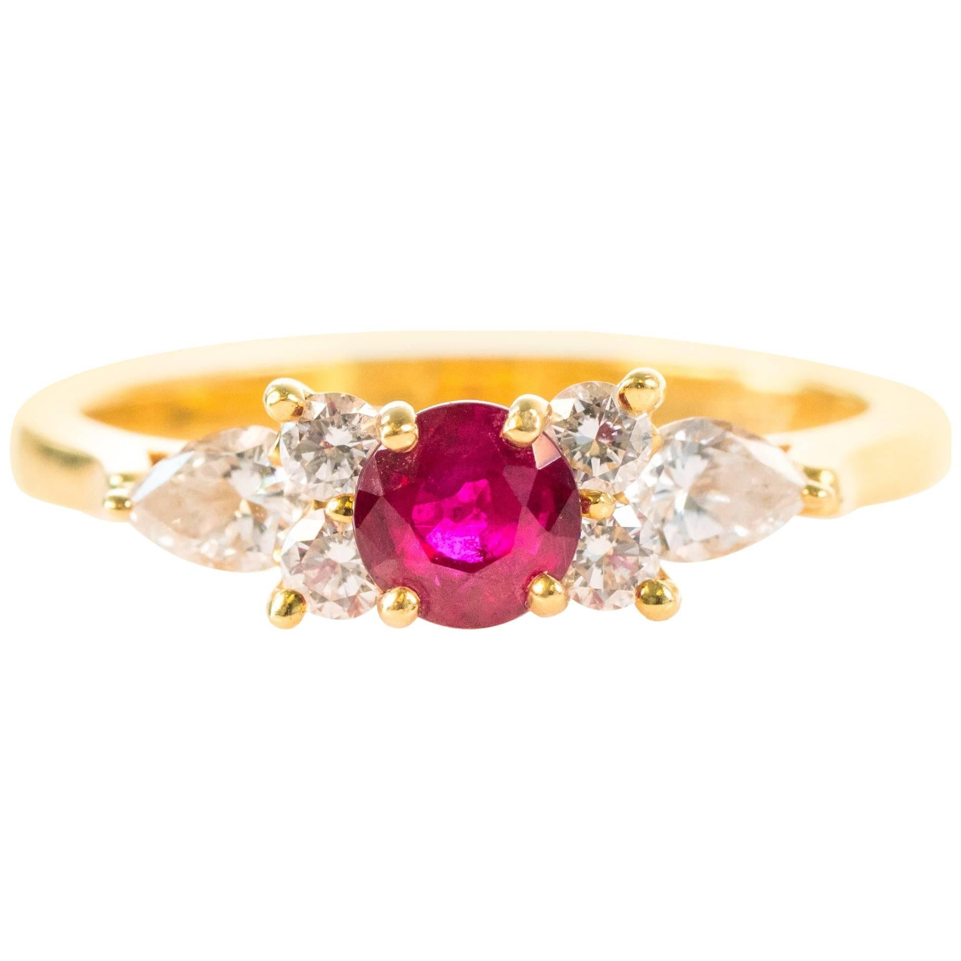 Tiffany & Co .40 Carat Red Ruby, Diamond and 18K Gold Ring