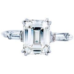 1960s Gia Certified 2.27 Carat Emerald Cut Diamond Engagement Ring