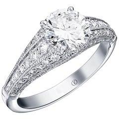 Raquel Art Deco1,35ct and 0,80ct Pavé Diamond Ring Designed by Valerie Danenberg
