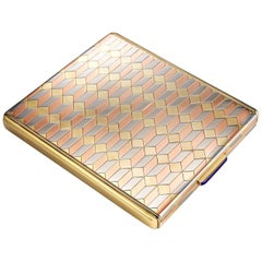 Tri-Colored Gold Mid-Century Compact