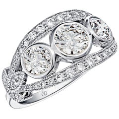 Bacchus Art Déco style Leaf Pattern 3 Diamond Ring designed by Valerie Danenberg