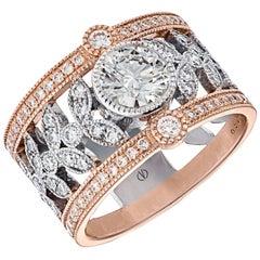 Cleo White ,Pink Gold Laurel-Pattern Diamond Ring designed by Valerie Danenbe