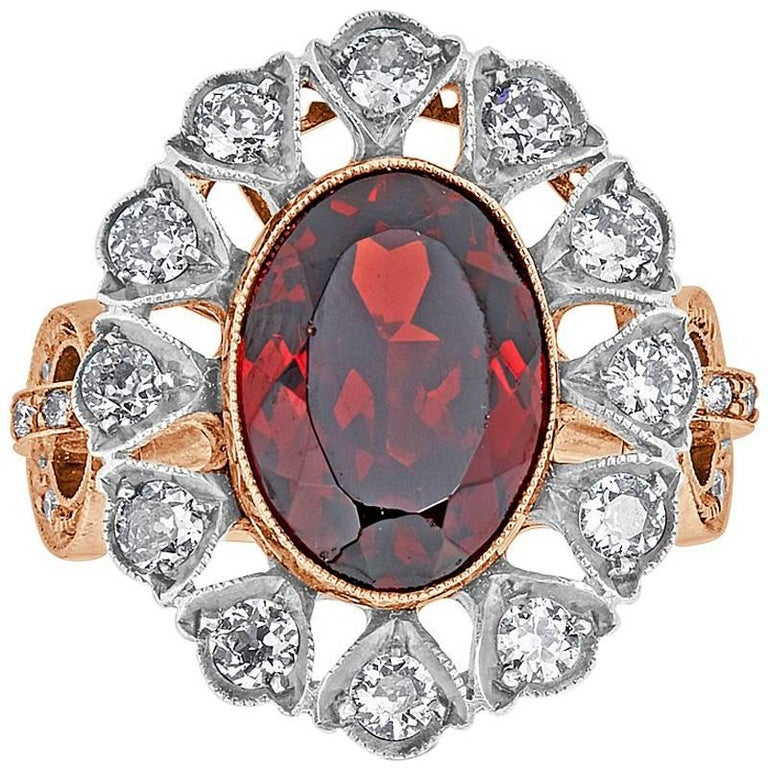 Garnet and Diamond Estate Rose Gold and Sterling Silver Ring