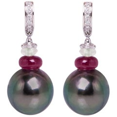 Ella Gafter Black Tahitian Pearl and Diamond Gold Hoop Drop Earring