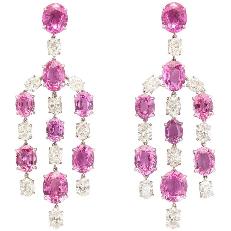 Elegant Platinum Pink Sapphire and Diamond Chandelier Earrings