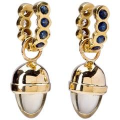 Reversible Diamond Sapphire Huggies