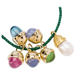 South Sea Pearl with Multicolored 14 Karat Cabachon Drops