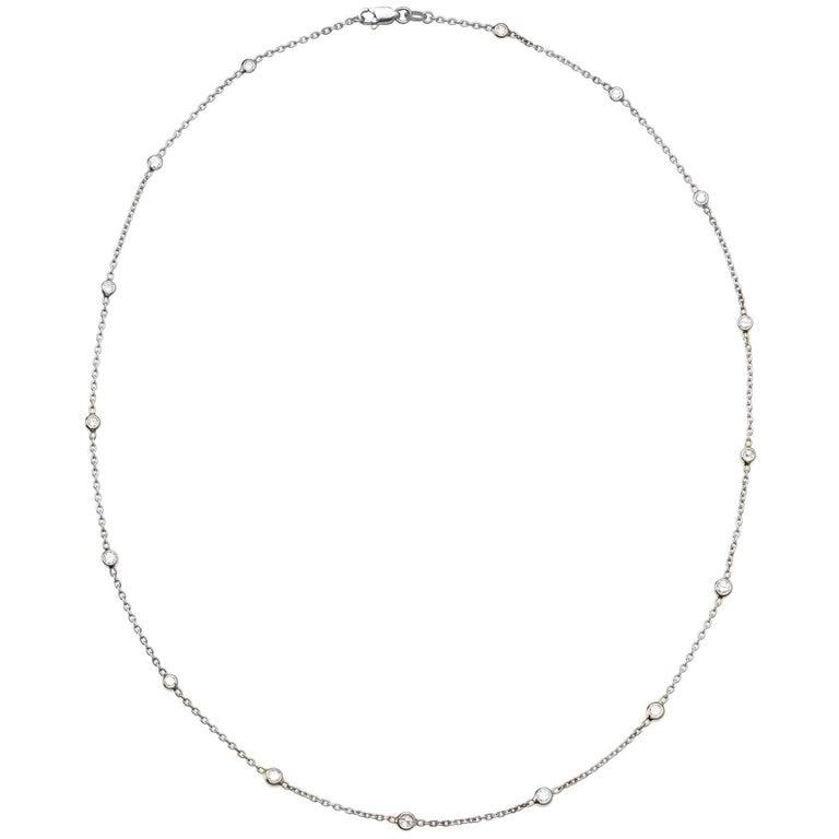 Bezel Set Diamond Necklace in 14 Karat White Gold