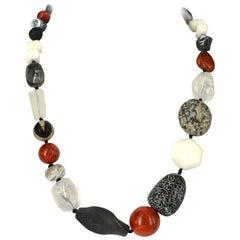 Decadent Jewels sea Bamboo Agate Lava Clear Quartz Jasper Silver Necklace