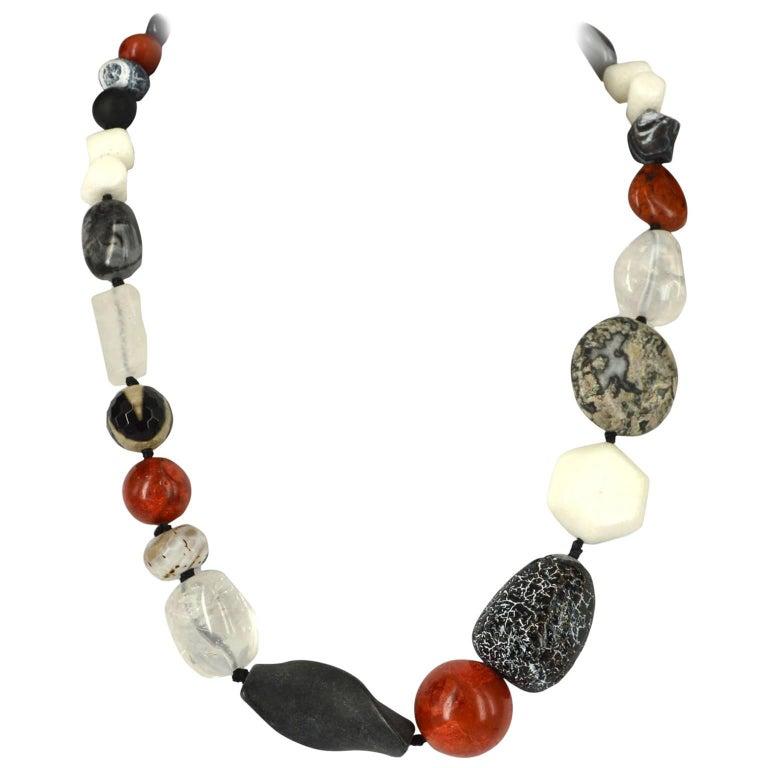Decadent Jewels Coral Agate Lava Clear Quartz Jasper Silver Necklace