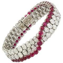 Natural No Heat Burmese Ruby and Diamond Bracelet
