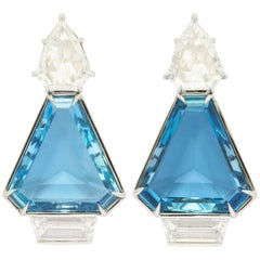 Gem Quality Aquamarine and Diamond Earrings