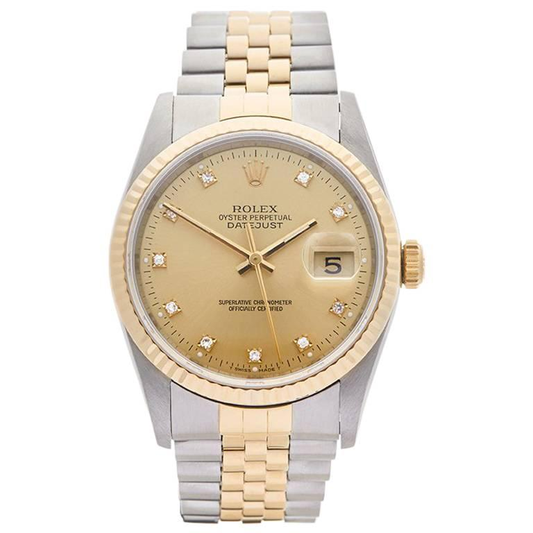 Rolex Yellow Gold Stainless Steel Datejust Automatic Wristwatch Ref W3987 For Sale