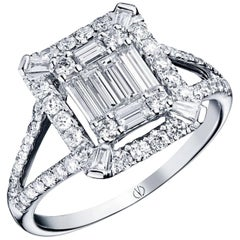 Clarence Baguette and Brilliant-Cut Diamond Ring Designed by Valerie Danenberg