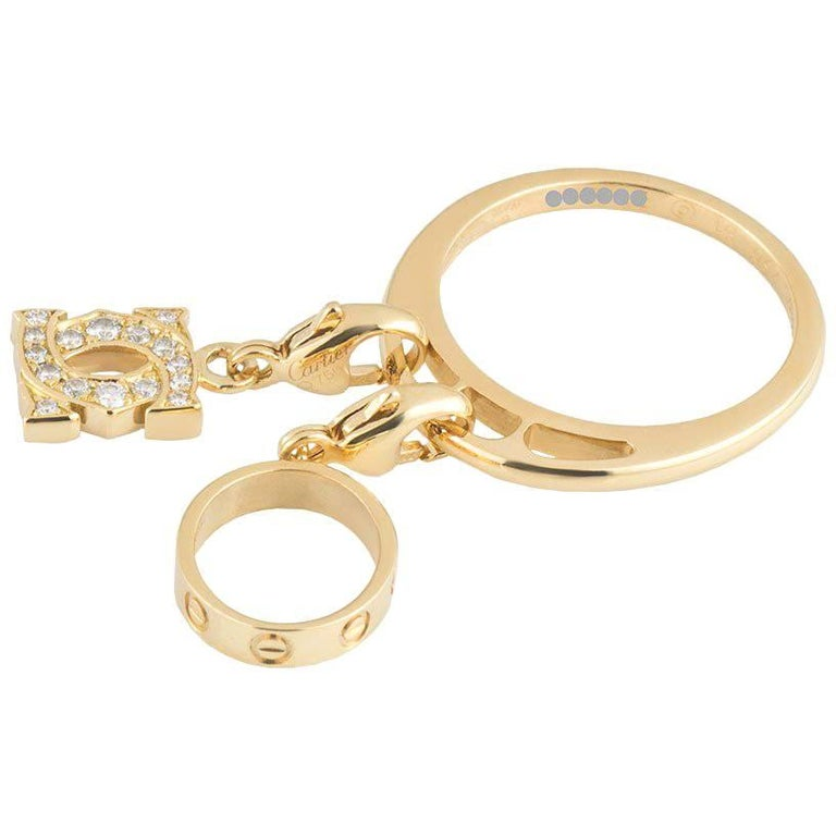 Cartier Yellow Gold Diamond Charm Ring For Sale