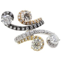 5.10 ct White Diamonds, Yellow Rose and White Gold Fashion Ring