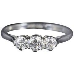 Edwardian Diamond Trilogy Platinum Ring circa 1910 0.76 Carat Engagement Ring