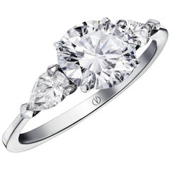 So Precious Classical 2,47ct and 2 Pear Shape Diamond Ring by  Valerie Danenberg