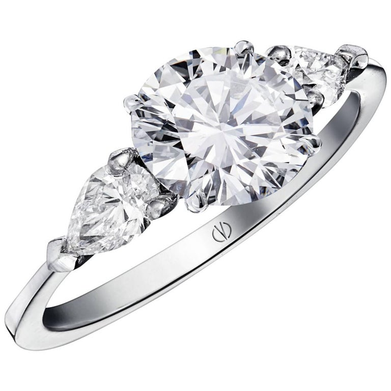So Precious Classical 2 47ct and 2 Pear Shape Diamond Ring by Valerie Danenbe