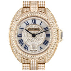 Cartier Ladies Rose Gold Diamond Clé De Cartier Automatic Wristwatch