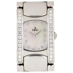 Ebel Ladies Stainless Steel Diamond Mother-of-Pearl Beluga Manchette Wristwatch