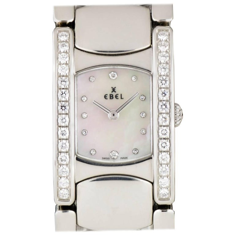 Ebel Ladies Stainless Steel Diamond Mother-of-Pearl Beluga Manchette Wristwatch For Sale