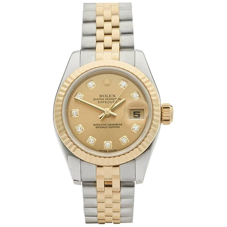 Rolex Ladies Yellow Gold Stainless Steel Datejust Automatic Wristwatch Ref W3985 1