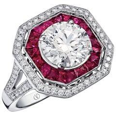 Victorine Caliber Cut Ruby and 2 Carat F VS2 Art Déco Diamond Cocktail Ring