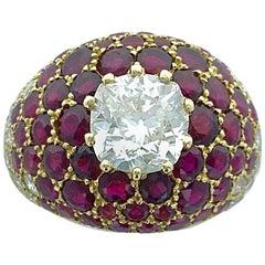 Lorenz Baumer Diamond Ruby Yellow Gold Ring